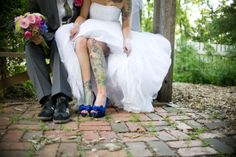 Uncovering the leg tattoo under the dress. The Day Pigs Flew – Ruzena & Greg. Tattooed Wedding, Wedding Tattoos, Brides With Tattoos, Flying Pig, Wedding Photography Inspiration, Leg Tattoos, Marry Me, Pigs, Lotus