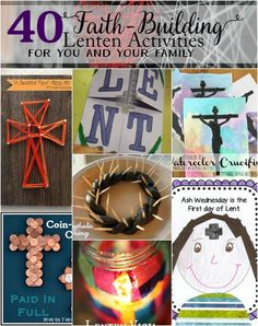 AWESOME ROUND UP Lent is just around the corner. In an effort to prepare I'm sharing 40 Faith-Building Lenten Activities for you and your families today. Lent is an important time around my house–both for me and for my family. Unfortunately I live a life Catholic Lent, Catholic Crafts, Church Crafts, Roman Catholic, Religion Activities, Teaching Religion, Activities For Kids, Crafts For Kids, Prayers
