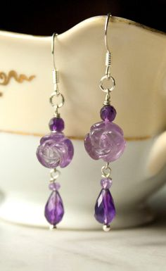 Rose Carved Amethyst Wire Wrapped Earrings