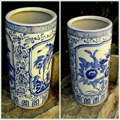 UMBRELLA STAND / Floor Vase / Hand Painted by EclectibleParts4U, $159.00