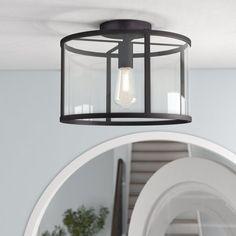 Darby Home Co Conley 1 - Light Lantern Drum Flush Mount Basement Fireplace, Fireplace Remodel, Basement Walls, Bedroom Flooring, Flush Ceiling Lights, Flush Mount Lighting, Ceiling Lighting, Interior Lighting, Houses