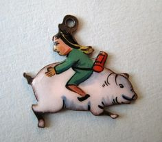 Vintage Germany Sterling Enamel Man Riding Pig Backwards Silver Charm RARE | eBay