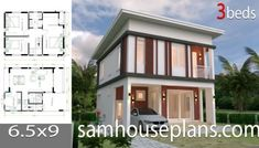 House plans with 3 bedrooms Flat roof - Sam House Plans House Roof Design, Flat Roof House, Simple House Design, Cool House Designs, Simple House Plans, New House Plans, Dream House Plans, Modern Bungalow House, Bungalow House Plans
