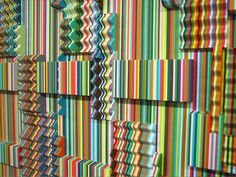I particularly love this first piece by Ara Peterson of Rhode Island. He creates wicked 3-dimensional optical illusions utilizing repetition in colors and