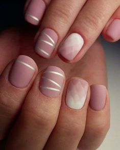 Simple matte rose gradient nail art pink and with with silver stripes