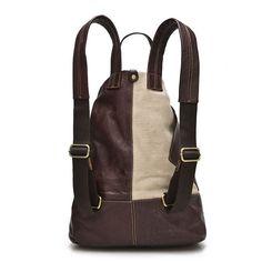 Retro Art Color-Block Fashion Genuine Leather High-Quality Shoulder Backpack 2 Colors