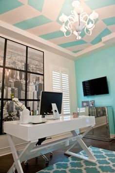 Home Office- Tiffany Blue and White- Red Egg Design Group