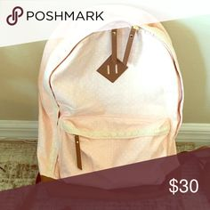 Pastel pink and white polka dot backpack Used for week of school. Great condition. Not Brandy Bags Backpacks