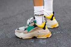 Balenciaga Triple S Green Yellow Sneakers Sneakers Mode, Best Sneakers, Sneakers Fashion, Fashion Shoes, Milan Fashion, Street Fashion, Sneaker Outfits, Ugly Shoes, Hot Shoes