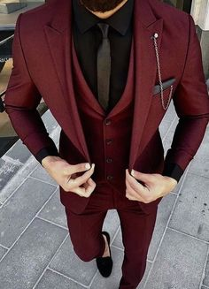 Mens Maroon Suit ready to wear. – [pin_pinter_full_name] Mens Maroon Suit ready to wear. Mens Maroon Suit ready to wear. Fashion Mode, Fashion Outfits, Men's Outfits, Fashion Ideas, Male Prom Outfits, Fashion For Men, Outfits For Men, Mens Dress Outfits, Church Outfits