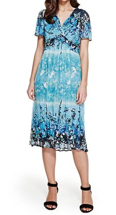M&S PER UNA Lagoon Crinkle Midi Dress.  UK12 EUR40  MRRP: £59.50GBP - AVI Price: £22.00GBP