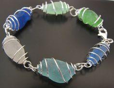 Rare Ocean Blues Genuine Sea Glass Bracelet, Jewelry. $49.00, via Etsy.