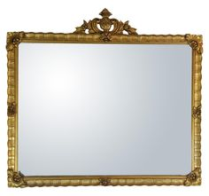 Antique Gilded Crested Wooden Wall Mirror on Chairish.com