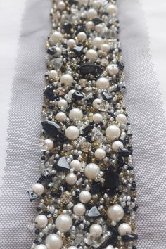 Hand-made trim mix-style with pearls, beads and stones