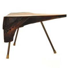 Carl Auböck; Nutwood and Brass 'Tree Trunk' Occasional Table, 1950s.