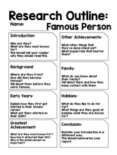 Report Outline: Famous Person