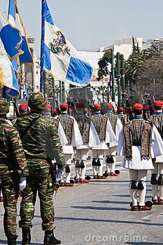 Photo about Athens, Greece - March Military parade at Greek independence day. Greek soldiers, Evzones and color-bearers in parade. Image of historic, athens, formation - 19046276 Hellenic Army, Greek Independence, Greek Soldier, Greek Warrior, Greek Culture, Military Police, Special Forces, Greece Travel, Countries Of The World