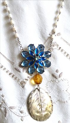 vintage upcycled necklace - brooch, rosary and spoon - found on a bilingual blog