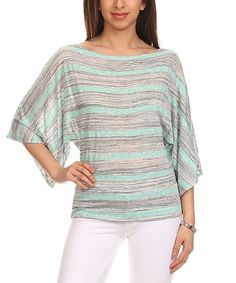Look what I found on #zulily! J-Mode USA Los Angeles Mint Stripe Dolman Top by J-Mode USA Los Angeles #zulilyfinds
