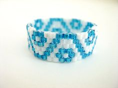 Peyote Ring White Blue Delica Beaded Band Seed by MadeByKatarina, $13.00