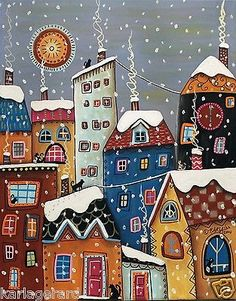 Winter Cats 11x14 Houses Cats ORIGINAL Canvas PAINTING FOLK ART ABSTRACT Karla G...Brand new painting, now for sale..