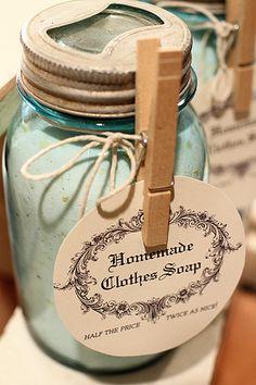 Homemade laundry soap.  Try using Dr. Bronners Castile Soap Bars!
