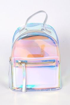 Silver Clear Backpack With Zippers Clear Backpacks, Cute Mini Backpacks, Stylish Backpacks, Girl Backpacks, School Backpacks, Leather Backpacks, Leather Bags, Fashion Bags, Fashion Backpack