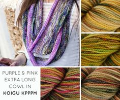 The Purple & Pink Extra Long Cowl uses 4 different colors of Koigu KPPPM. A great stashbuster for hand-dyed yarns!