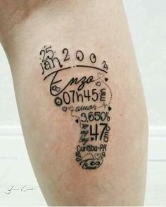 Birht tattoo in foot form