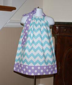 custom made aqua blue chevron Pillowcase dress purple polka dots baby girls riley blake toddler dress size newborn thru 4t on Etsy, $19.99