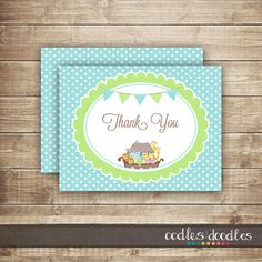 Noah's Ark Thank You Card /  Baby Boy Shower or Baptism by OandD