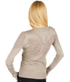 Pulover Dama Butterfly  Pulover dama stil cardigan. Se inchide cu nasturi si poate fi purtat cu usurinta atat in sezonul rece cat si in cel cald. Model modern, cu insertie de broderie pe spate si maneci.     Lungime: 59cm  Latime talie: 37cm  Compozitie: 90%Acryl, 10%Elasten Cardigan, Men Sweater, Modern, Sweaters, Fashion, Embroidery, Moda, Trendy Tree, Fashion Styles