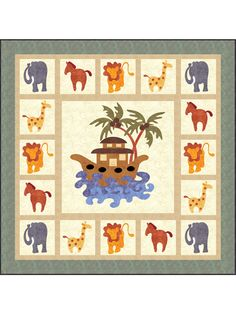Baby & Kids Wall Quilt Patterns - This cute pattern makes a toddler-sized throw that would be a perfect gift for a boy or girl. It would also make a great wall hanging for a Sunday school room. The colorful animals and ark are applique. Finished size is x Patchwork Quilt Patterns, Quilt Patterns Free, Craft Patterns, Kids Patterns, Applique Wall Hanging, Quilted Wall Hangings, Fabric Panel Quilts, Children's Quilts, Fox Quilt