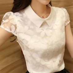women blouse spring new 2014 Blouse Styles, Blouse Designs, Casual Wear, Casual Outfits, Cute Blouses, Cute Tops, Dress Patterns, Ideias Fashion, Summer Outfits