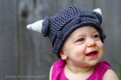 Crocheted Baby Viking Hat 0-6 mo