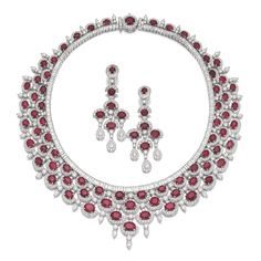 Ruby and diamond demi-parure. Comprising: a necklace of fringe design set with oval rubies and pear-shaped, brilliant-cut and baguette diamonds; together with a pair of chandelier earrings, post and hinge back fittings. Ruby And Diamond Necklace, Ruby Necklace, Ruby Jewelry, High Jewelry, Jewelry Necklaces, Stone Necklace, Necklace Set, Jewellery, Magenta