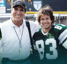 Vince Papale & Mark Wahlberg while shooting Invincible