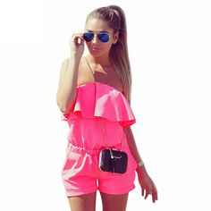 edcf4b18a9 2016 Women Rompers and Jumpsuit Sexy Strapless Fashion Solid Candy Color  Summer Shorts Beach Playsuit