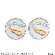 Gold and silver chain clip with links cufflinks.