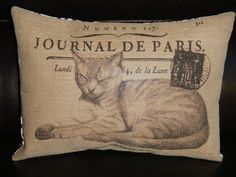 Vintage French Cat Postmark Burlap Decorative Pillow Cats Shabby Chic  http://www.etsy.com/listing/154915185/vintage-french-cat-postmark-burlap?ref=sr_gallery_25_search_query=cat+vintage_view_type=gallery_ship_to=US_order=price_asc_page=15_search_type=handmade
