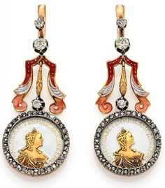 DIAMOND-ENAMEL-EAR-STUD-PENDANTS. Russia, ca. 1930, 56/- zolotnik = ca. 585/- rose gold, silver, coloured enamel varnish, weight: 19,9 g. L. ca. 5,5 cm. 70 diamonds in old- and rose-cut in total ca. 1,28ct. Depiction of the former empress Catherine II. of Russia. Maker's mark PA.