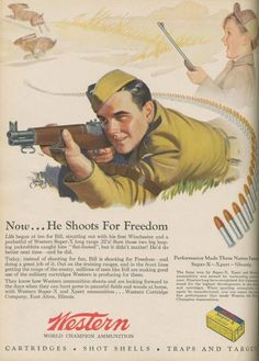 Western Ammunition ad in Field & Stream during WWII.