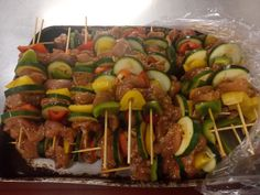 Marinated over night, then skewered more marination and then left till orders. Can't go wrong and incredibly cheap for what it is 😜 Chicken Skewers, Sausage, Garlic, Beef, Canning, Night, Food, Meat, Home Canning