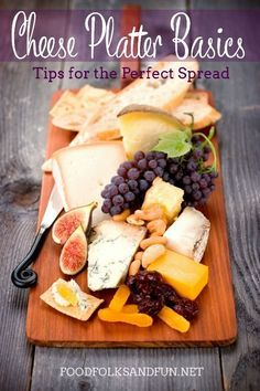 Cheese Platter Basics: Tips for Creating the Perfect Spread. I'll show you how to make a delicious spread of fine imported cheeses served with fruit, nuts, bread and crackers for Thanksgiving. | www.foodfolksandfun.net | #EverythingButTheTurkey