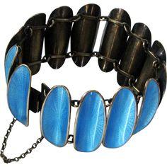 Vintage David-Andersen Sterling Enamel Bracelet Sky Blue Winnaess Convex Disks Norway