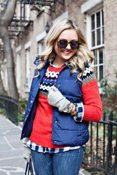 Fair Isle sweater + plaid shirt + puffer vest