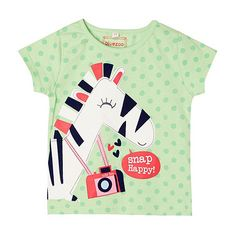 bluezoo Girl's green zebra printed top- at Debenhams.com