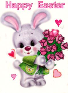 Bunny with flowers Rose Pictures, Gif Pictures, Animiertes Gif, Animated Gif, Roses Gif, Easter Bunny Pictures, Birthday Wishes For Daughter, Easter Wallpaper, Glitter Gif