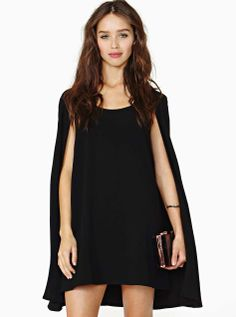 Black Round Neck Cape Chiffon Dress EUR€25.52.  women's fashion and street style.  cape dress.  just bought this.  LOVE.