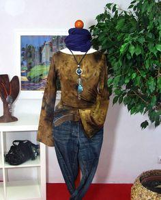 Damen Shirt Tunika Gr S 32 34 LONGE SLEEVE TROMPETENARM braun Oberteil  Bluse K48 9cb9189c97
